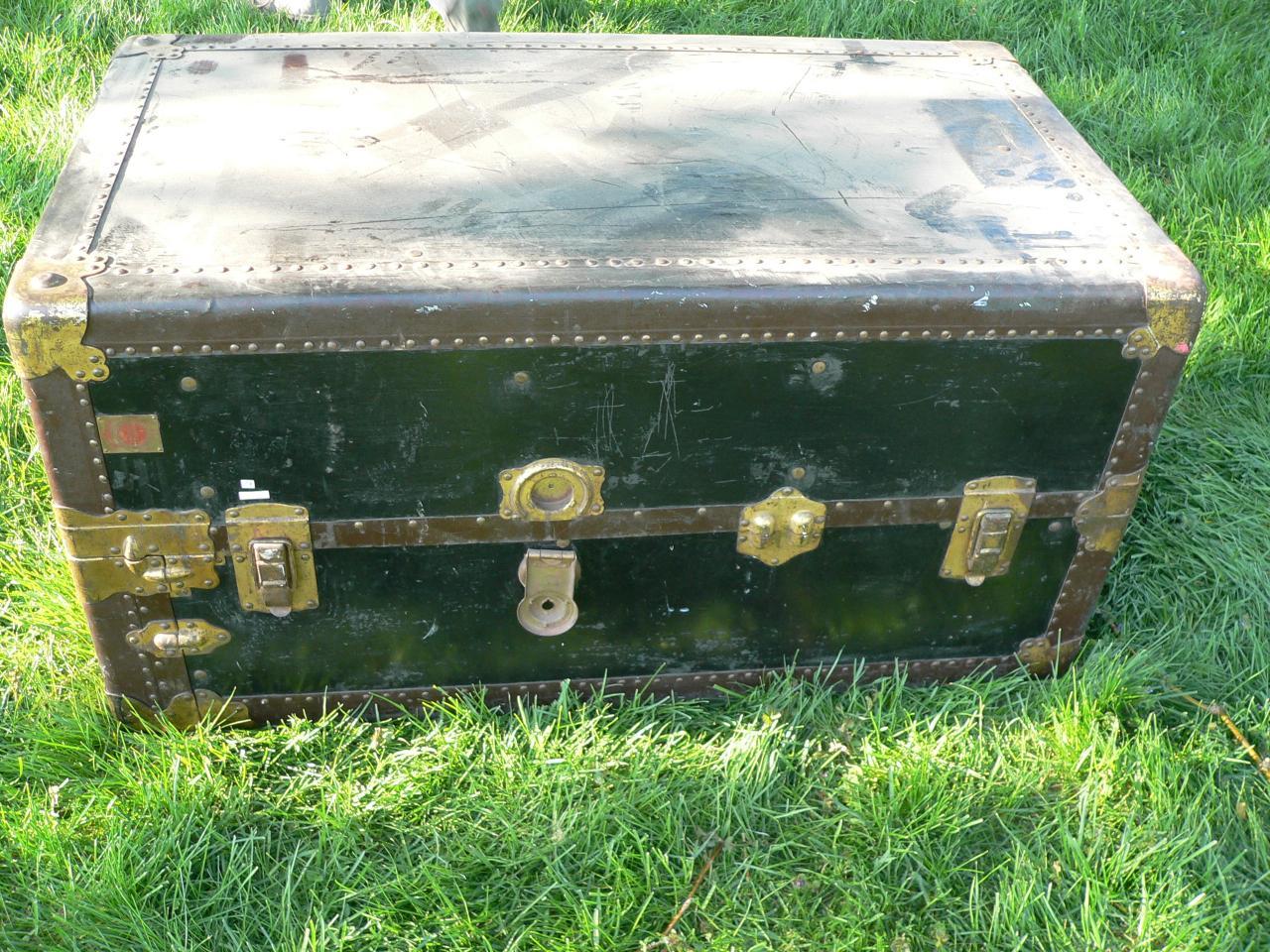 Coffre malle antique de voyage #1493