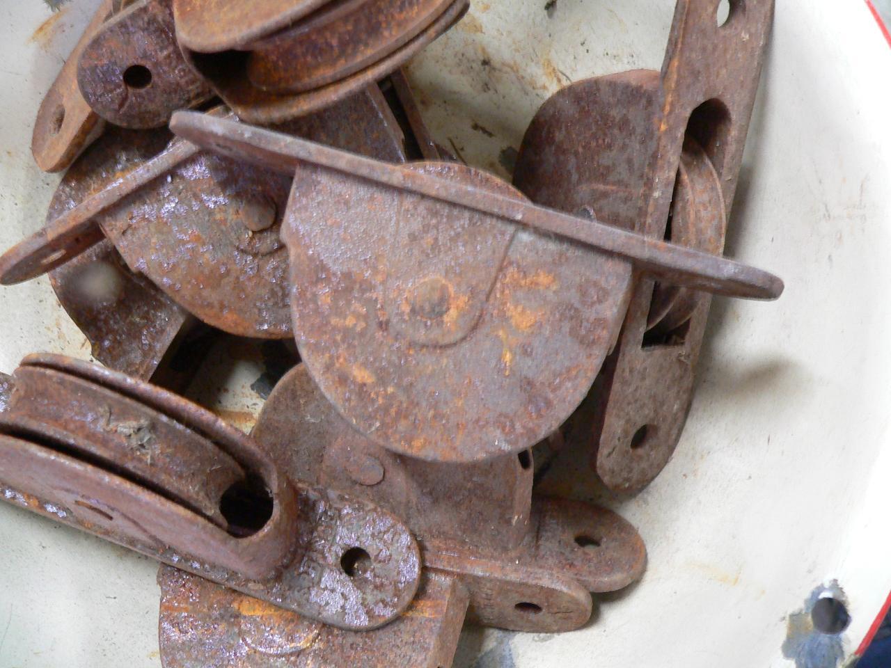 Lot de 6 vieille poulie antique # 3241