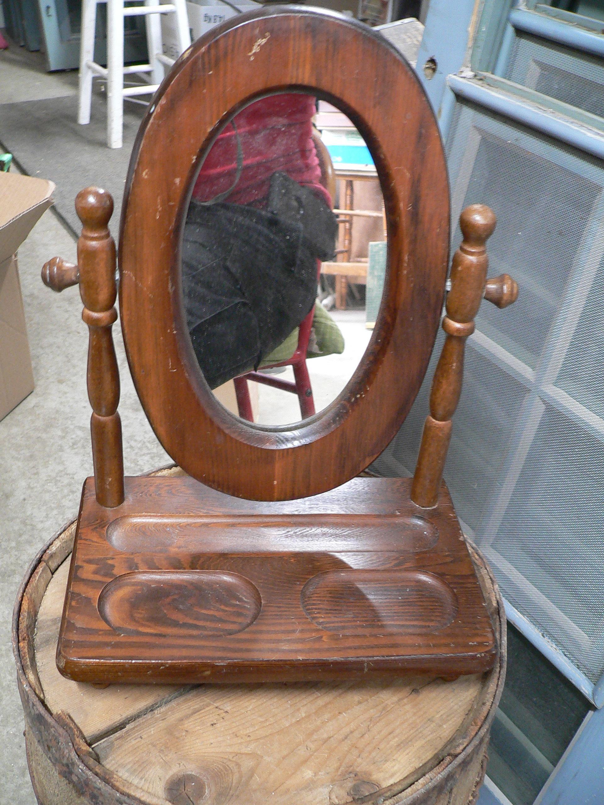 Miroir en bois pivotable de table # 6901