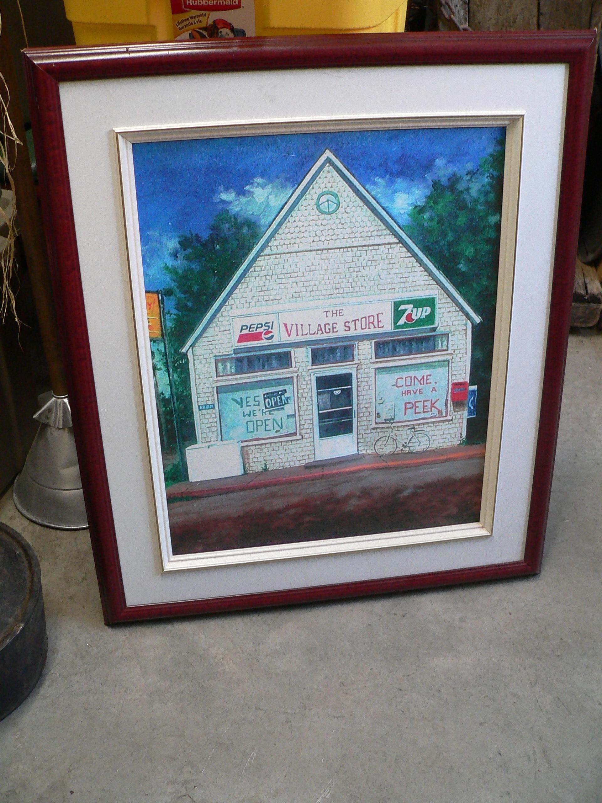 Peinture d'un magasin avec publicité pepsi et 7 up # 7209